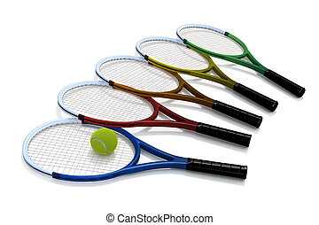 Five tennis rackets in a variety of colors, and a tennis ball, against a white background.