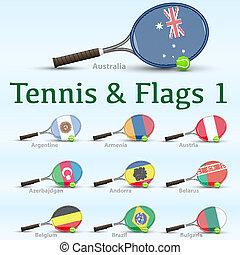 Tennis rackets & flags