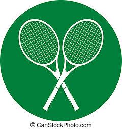 tennis rackets icon button vector