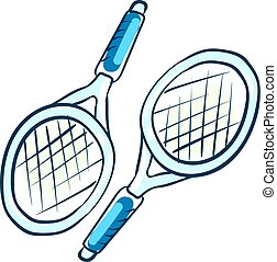 Tennis rackets, illustration, vector on white background.