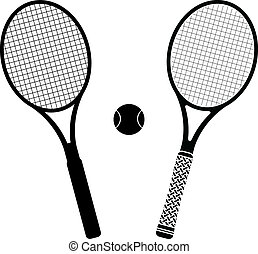 tennis rackets. stencil and silhouette