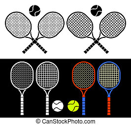 The crossed tennis rackets and balls form an emblem. Composition on a white background. Different tennis rackets on a black background.