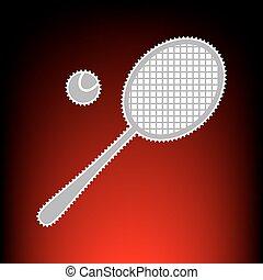 tennis racquet, cégtábla., levélbélyeg, vagy, öreg, fénykép, mód, képben látható, red-black, gradiens, háttér.