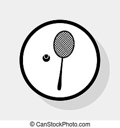 Tennis racquet sign. Vector. Flat black icon in white circle with shadow at gray background.
