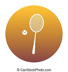 Tennis racquet sign. White icon in circle with golden gradient a