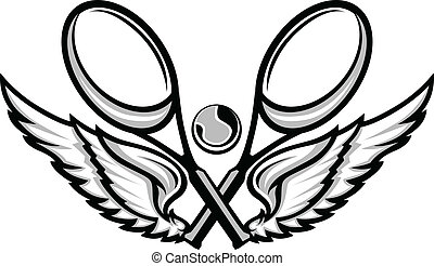 tennis racquet, und, flügeln, emblem, vektor, bilder