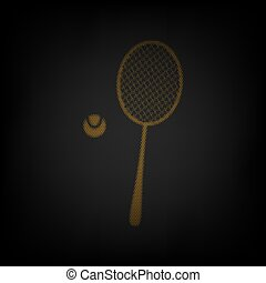Tennis racquet with ball sign. Icon as grid of small orange light bulb in darkness. Illustration.
