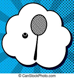Tennis racquet with ball sign. Vector. Black icon in bubble on b