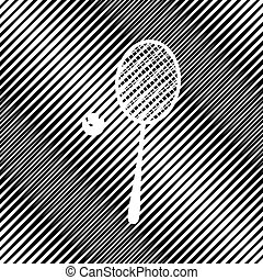 Tennis racquet with ball sign. Vector. Icon. Hole in moire backg
