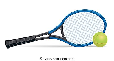 tennis racquet with tennis ball on white background