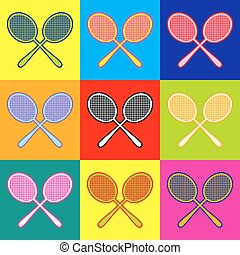 Tennis racquets icon. Pop-art style colorful icons set with 3 colors.