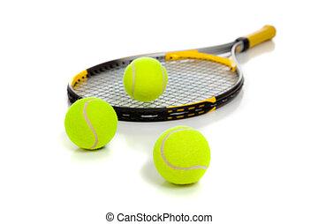 tennis raquet, met, gele, gelul, op wit