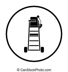 Tennis referee chair tower icon. Thin circle design. Vector...