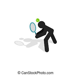 Tennis returner icon, isometric 3d style