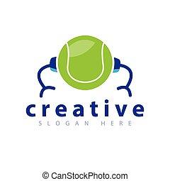 Tennis Robot Logo Vector Template