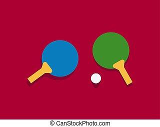Tennis rockets, illustration, vector on white background.