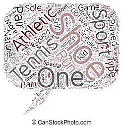 tennis schoenen, tekst, achtergrond, wordcloud, concept