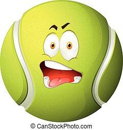 tennis, sciocco, palla, faccia