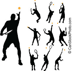 Tennis serve collection vector illustration
