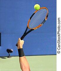 Tennis Serve on Court