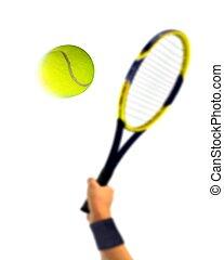 Tennis Serve over White