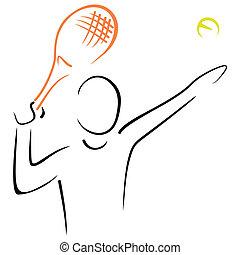 Tennis serve - Portrait of man serving at tennis