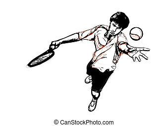 tennis service - illustration of tennis service