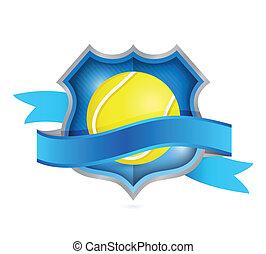 tennis shield seal illustration design