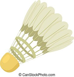 Tennis shuttlecock icon, cartoon style