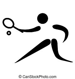 Tennis sign - Black silhouetted tennis sign or symbol;...