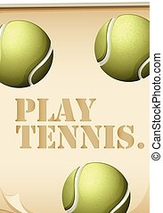 Tennis - Sign with tennis ball in the background and text