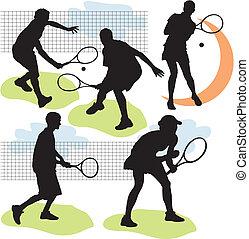 tennis, silhouettes, vecteur, ensemble