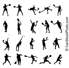tennis, silhouettes, verzameling