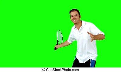 tennis, spelend, man, jonge