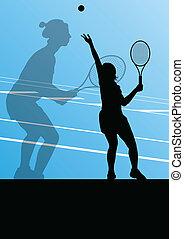 tennis spelers, silhouettes, vector, achtergrond, actief, ...