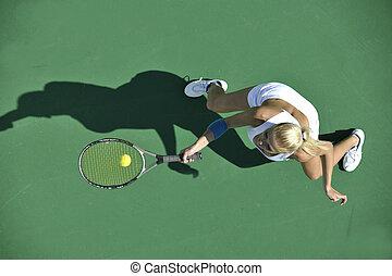 tennis, spielen, draußen, junge frau