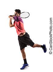 tennis, spielende , mann, junger