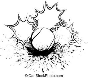Tennis Splatter Pow - Black and white vector illustration of...