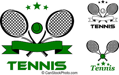 Tennis sport badges and emblems with rackets, balls and text Tennis. Can use for recreation, sporting logo design