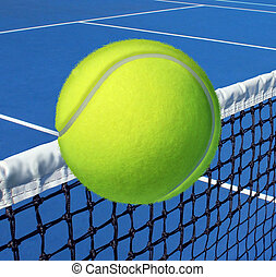 Tennis sport concept with a ball flying over the court net or netting as a leisure fitness and exercise symbol and health care icon for recreational exercising and living a fit lifestyle.