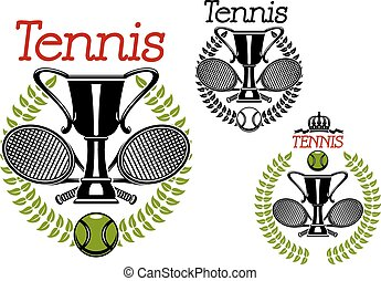Tennis sport emblems with game items