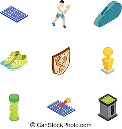 Tennis sport icons set, isometric 3d style