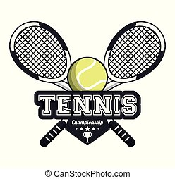tennis sport rackets crossed ball emblem image