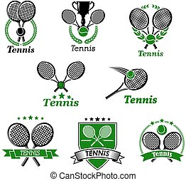 Tennis sporting emblems and banners