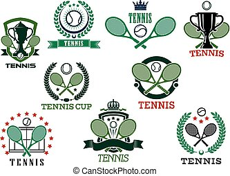 Tennis sports emblems and icons