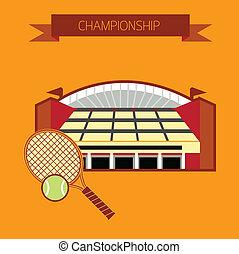 tennis, stade, championnat