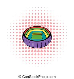 Tennis stadium icon, comics style