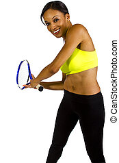Tennis - young black female tennis player with a racquet