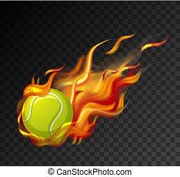 tennis, svart fond, låga, boll