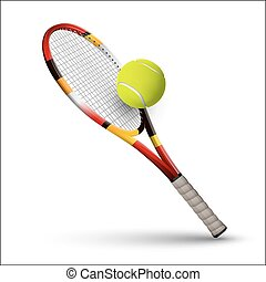 Tennis symbols racket and ball isolated on white background...
